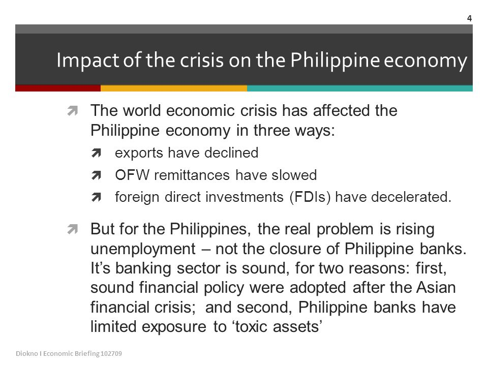 Impact of the crisis on the Philippine economy  The world economic crisis has affected the Philippine economy in three ways:  exports have declined  OFW remittances have slowed  foreign direct investments (FDIs) have decelerated.
