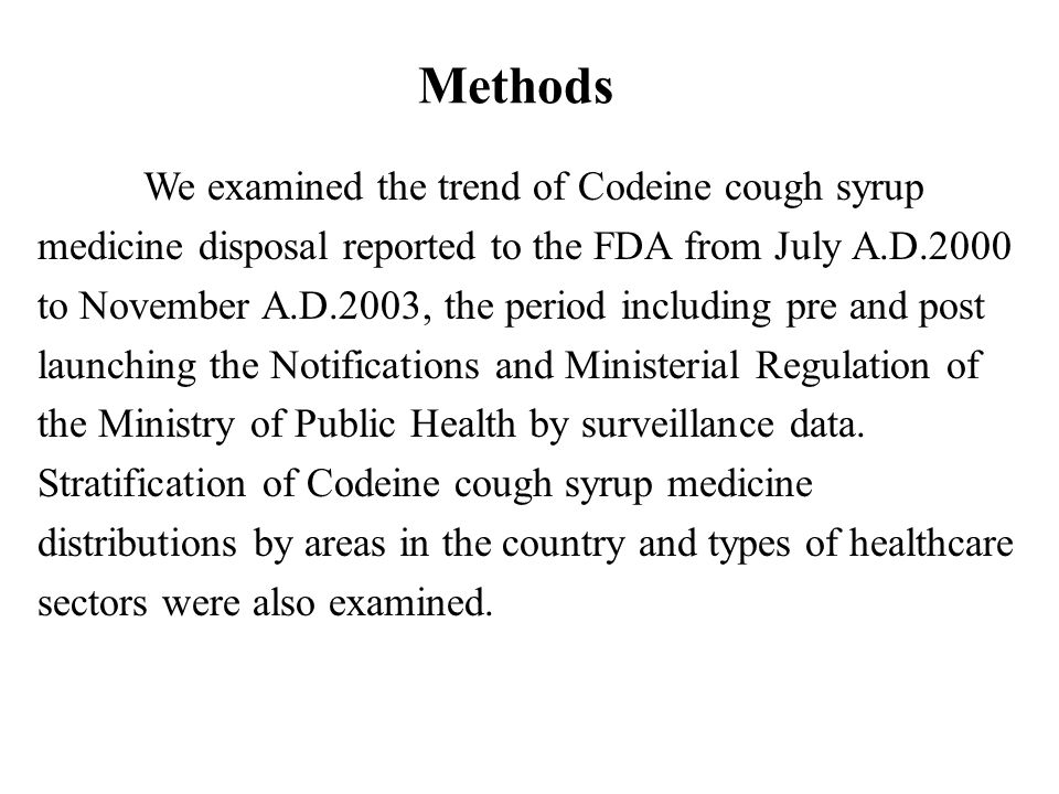 Methods We examined the trend of Codeine cough syrup medicine disposal reported to the FDA from July A.D.2000 to November A.D.2003, the period includi
