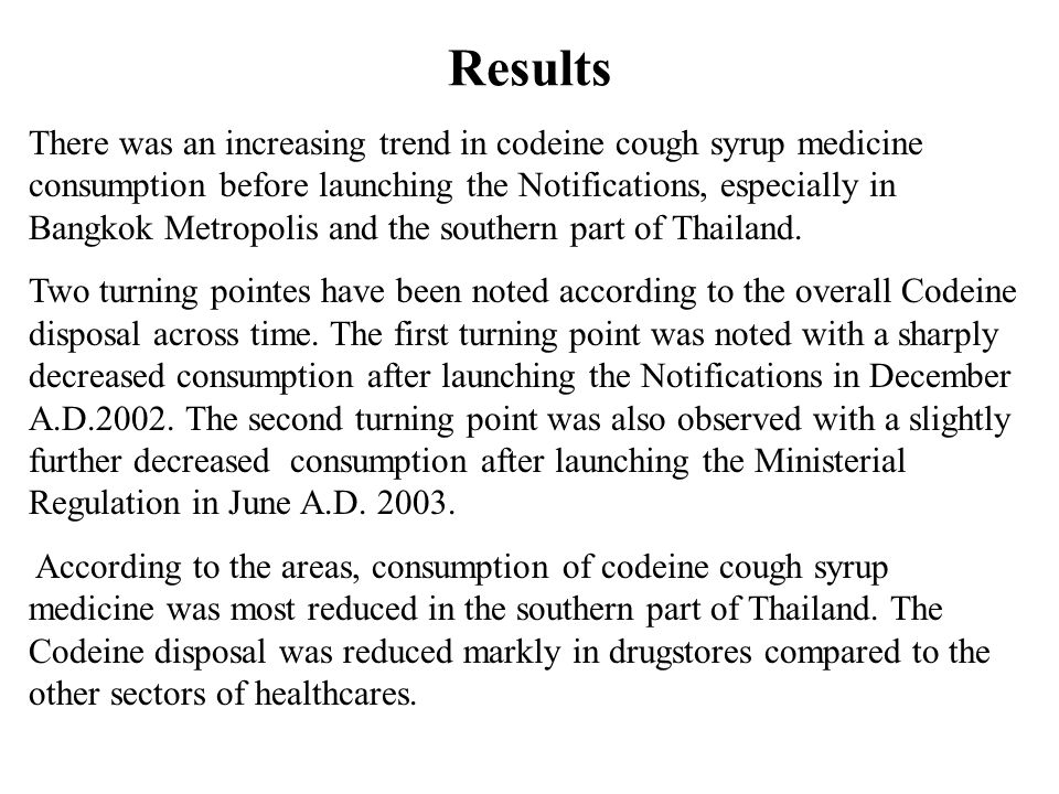 Results There was an increasing trend in codeine cough syrup medicine consumption before launching the Notifications, especially in Bangkok Metropolis