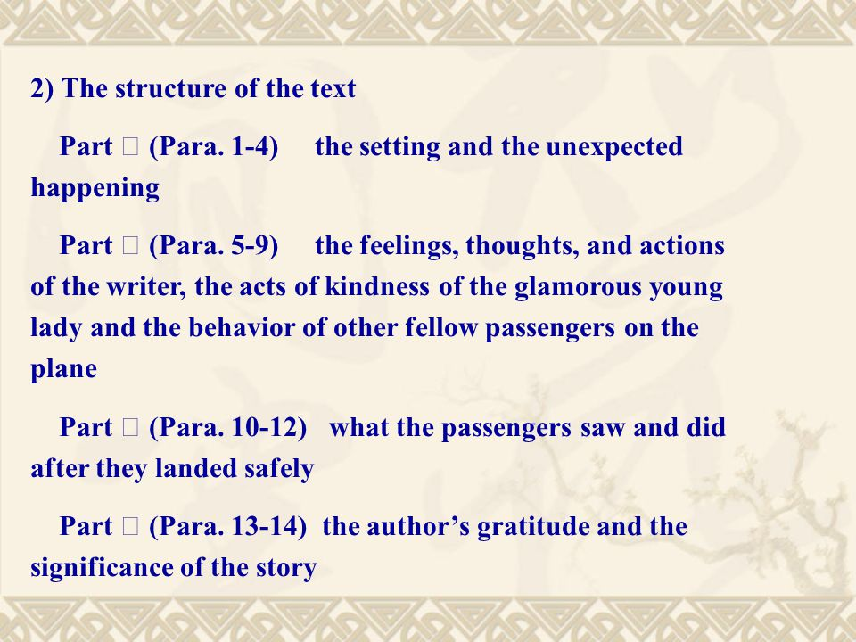 2) The structure of the text Part Ⅰ (Para.