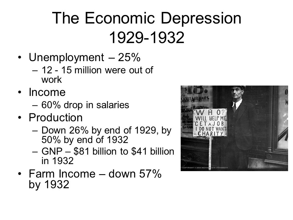 The Economic Depression 1929-1932 Unemployment – 25% –12 - 15 million were out of work Income –60% drop in salaries Production –Down 26% by end of 1929, by 50% by end of 1932 –GNP – $81 billion to $41 billion in 1932 Farm Income – down 57% by 1932
