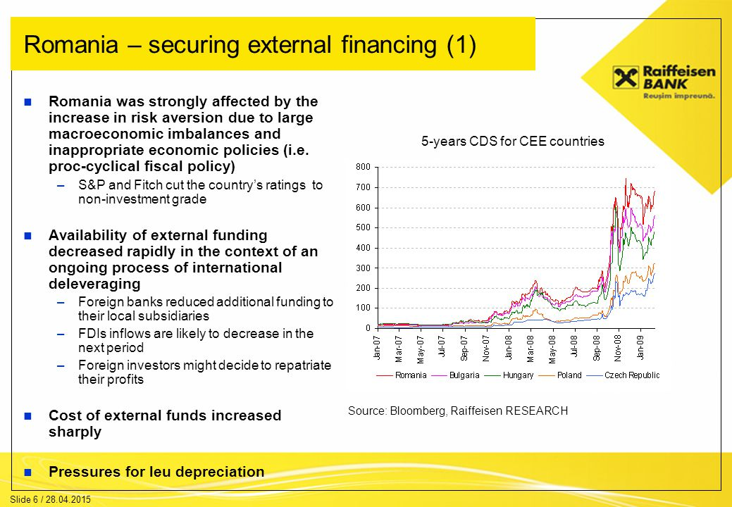 Slide 7 / 28.04.2015 Romania – securing external financing (2) Current account deficit started to decrease, which means lower financing needs from abroad However, the current account deficit is still high and the short-term debt service is also important Romania could ask for financial help to the European Commission and the IMF.