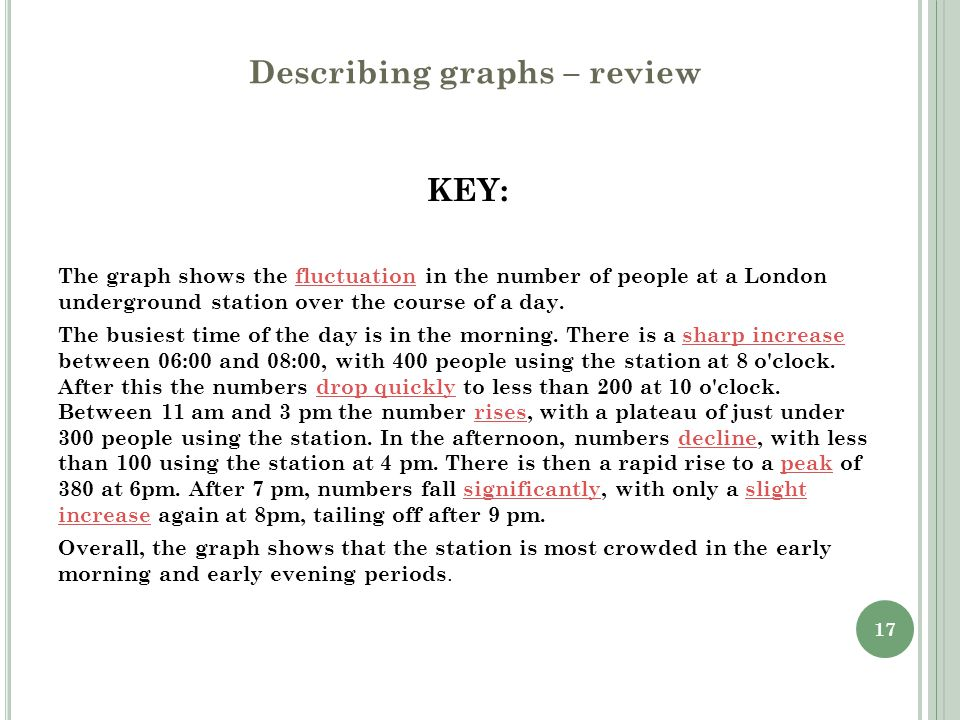 17 Describing graphs – review KEY: The graph shows the fluctuation in the number of people at a London underground station over the course of a day. T