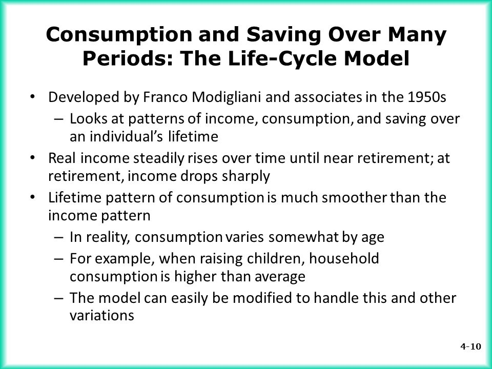 4-10 Consumption and Saving Over Many Periods: The Life-Cycle Model Developed by Franco Modigliani and associates in the 1950s – Looks at patterns of