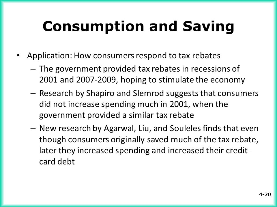4-20 Consumption and Saving Application: How consumers respond to tax rebates – The government provided tax rebates in recessions of 2001 and 2007-200