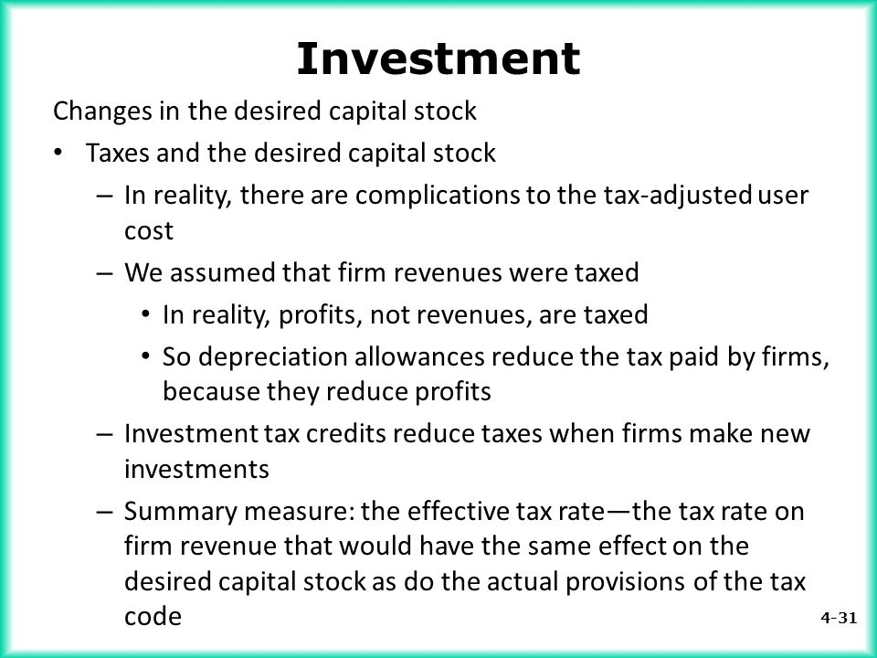 4-31 Investment Changes in the desired capital stock Taxes and the desired capital stock – In reality, there are complications to the tax-adjusted use