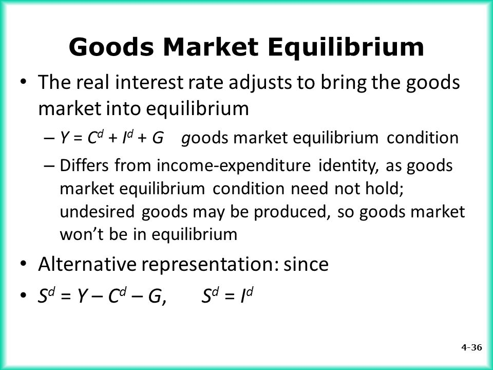4-36 Goods Market Equilibrium The real interest rate adjusts to bring the goods market into equilibrium – Y = C d + I d + G goods market equilibrium c