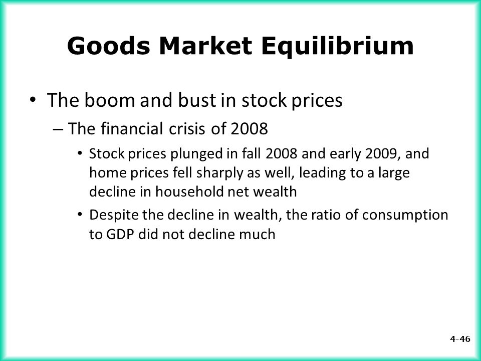 4-46 Goods Market Equilibrium The boom and bust in stock prices – The financial crisis of 2008 Stock prices plunged in fall 2008 and early 2009, and h