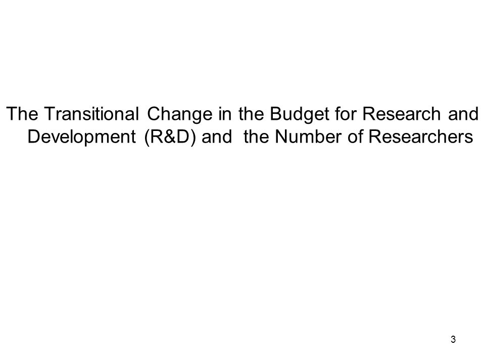 3 The Transitional Change in the Budget for Research and Development (R&D) and the Number of Researchers