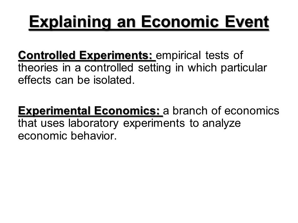 Controlled Experiments: Controlled Experiments: empirical tests of theories in a controlled setting in which particular effects can be isolated.