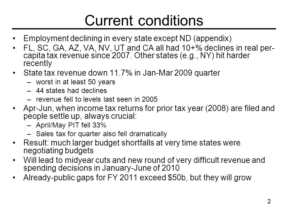 22 Current conditions Employment declining in every state except ND (appendix) FL, SC, GA, AZ, VA, NV, UT and CA all had 10+% declines in real per- capita tax revenue since 2007.
