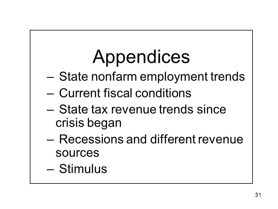 31 Appendices – State nonfarm employment trends – Current fiscal conditions – State tax revenue trends since crisis began – Recessions and different revenue sources – Stimulus