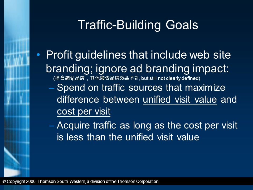 © Copyright 2006, Thomson South-Western, a division of the Thomson Corporation Traffic-Building Goals Profit guidelines that include web site branding; ignore ad branding impact: –Spend on traffic sources that maximize difference between unified visit value and cost per visit –Acquire traffic as long as the cost per visit is less than the unified visit value ( 指含網站品牌,其他廣告品牌效益不計, but still not clearly defined)