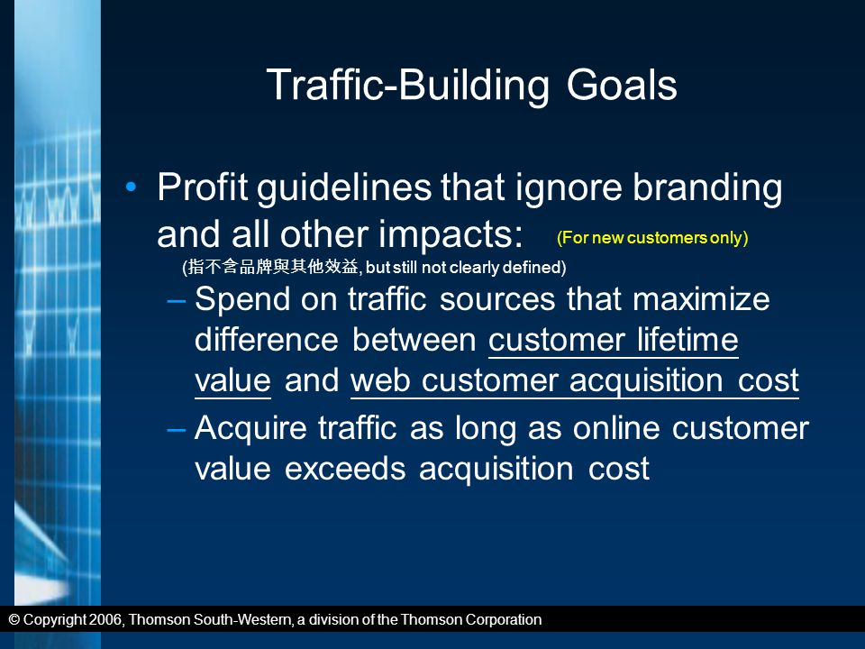 © Copyright 2006, Thomson South-Western, a division of the Thomson Corporation Traffic-Building Goals Profit guidelines that ignore branding and all other impacts: –Spend on traffic sources that maximize difference between customer lifetime value and web customer acquisition cost –Acquire traffic as long as online customer value exceeds acquisition cost ( 指不含品牌與其他效益, but still not clearly defined) (For new customers only)
