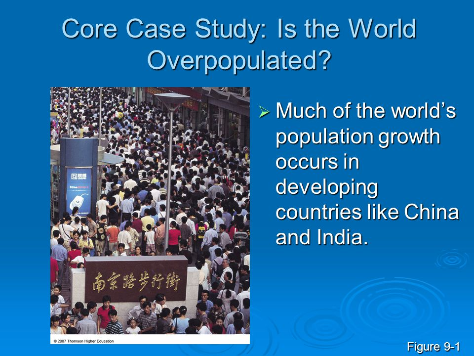 Core Case Study: Is the World Overpopulated?  Much of the world's population growth occurs in developing countries like China and India. Figure 9-1