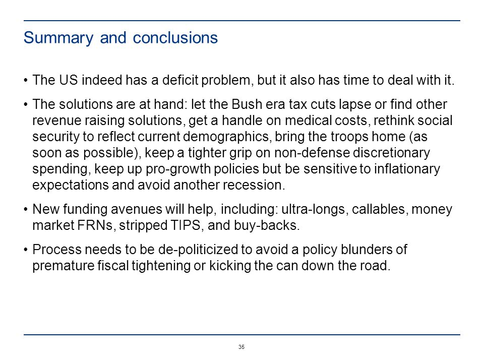 35 Summary and conclusions The US indeed has a deficit problem, but it also has time to deal with it.