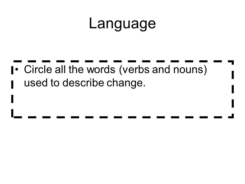 Language Circle all the words (verbs and nouns) used to describe change.