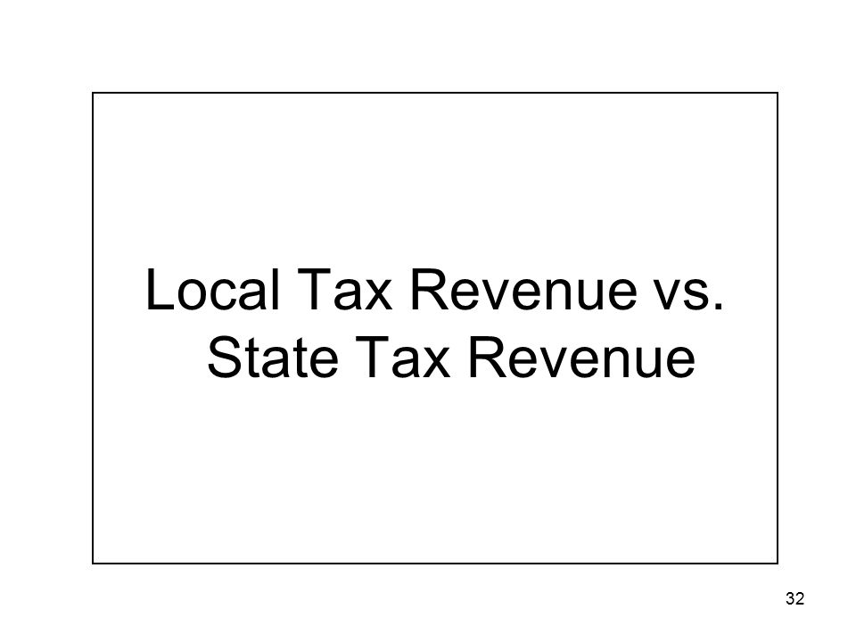 32 Local Tax Revenue vs. State Tax Revenue