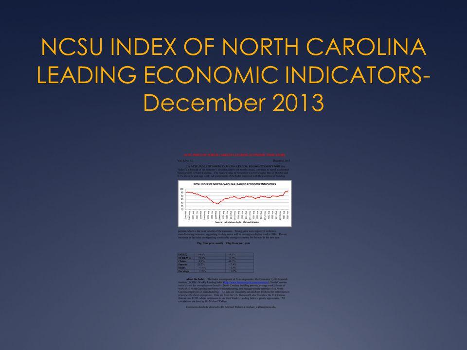 NCSU INDEX OF NORTH CAROLINA LEADING ECONOMIC INDICATORS- December 2013