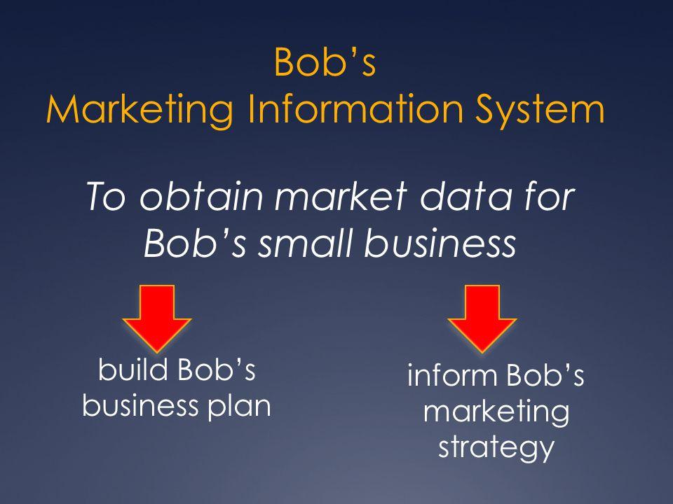 Bob's Marketing Information System To obtain market data for Bob's small business build Bob's business plan inform Bob's marketing strategy