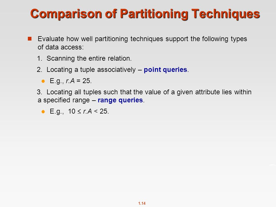 1.14 Comparison of Partitioning Techniques Evaluate how well partitioning techniques support the following types of data access: 1. Scanning the entir
