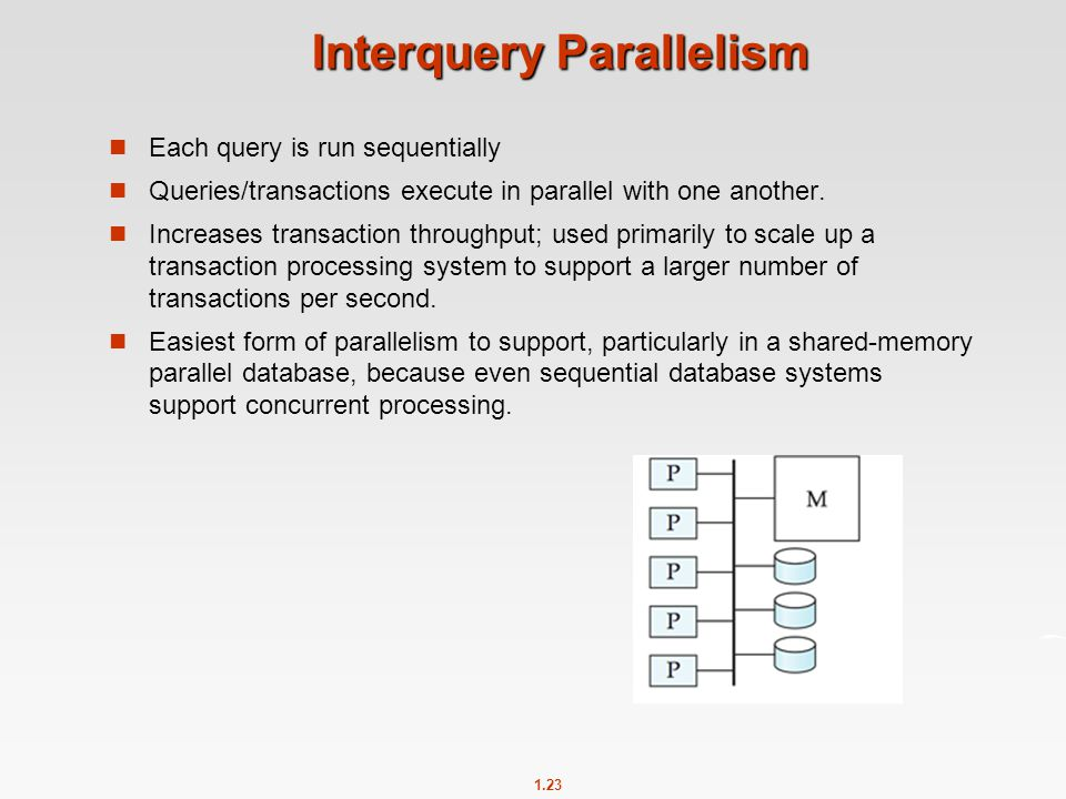 1.23 Interquery Parallelism Each query is run sequentially Queries/transactions execute in parallel with one another. Increases transaction throughput