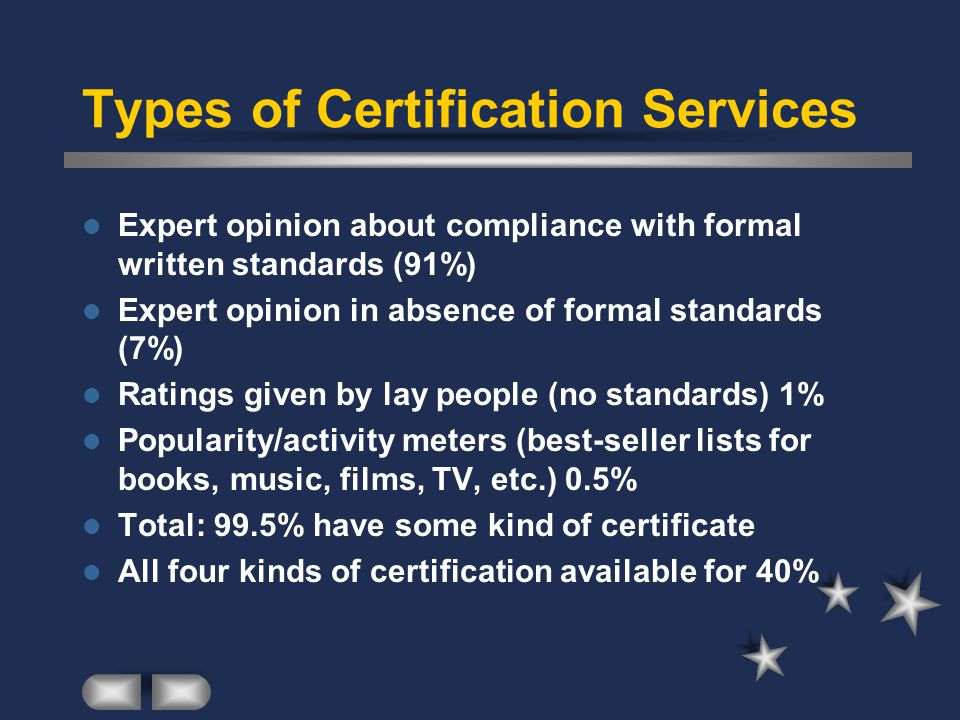Types of Certification Services Expert opinion about compliance with formal written standards (91%) Expert opinion in absence of formal standards (7%) Ratings given by lay people (no standards) 1% Popularity/activity meters (best-seller lists for books, music, films, TV, etc.) 0.5% Total: 99.5% have some kind of certificate All four kinds of certification available for 40%