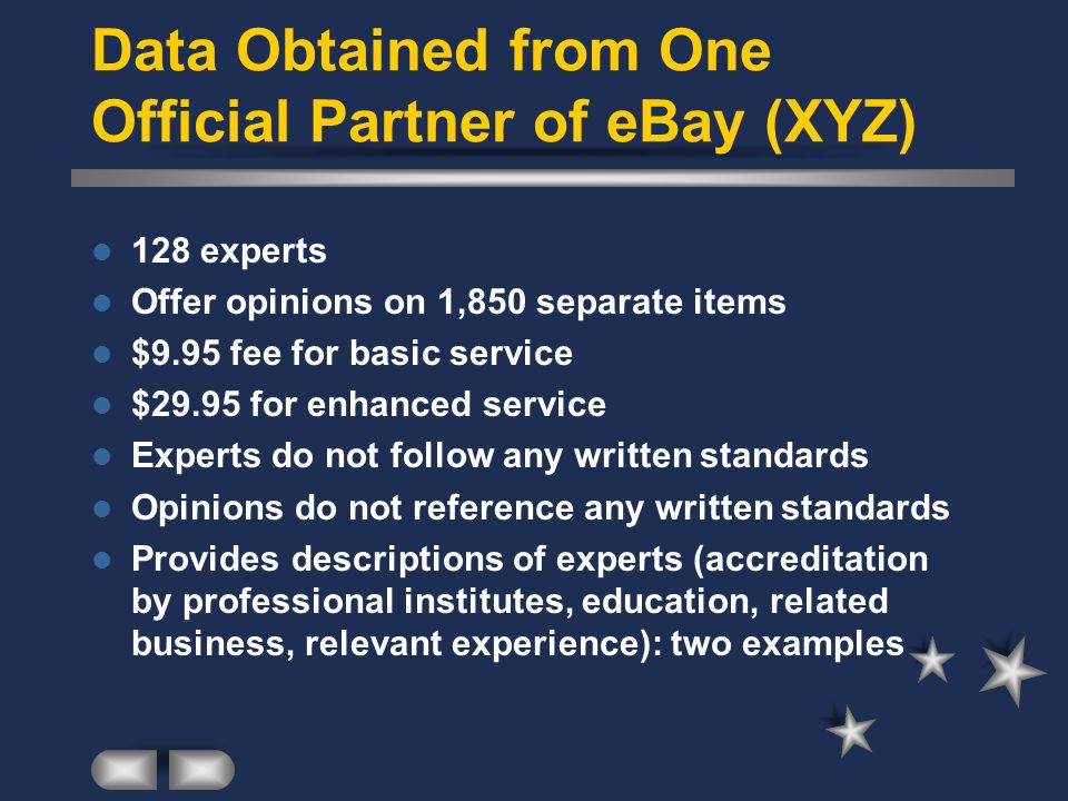 Data Obtained from One Official Partner of eBay (XYZ) 128 experts Offer opinions on 1,850 separate items $9.95 fee for basic service $29.95 for enhanced service Experts do not follow any written standards Opinions do not reference any written standards Provides descriptions of experts (accreditation by professional institutes, education, related business, relevant experience): two examples