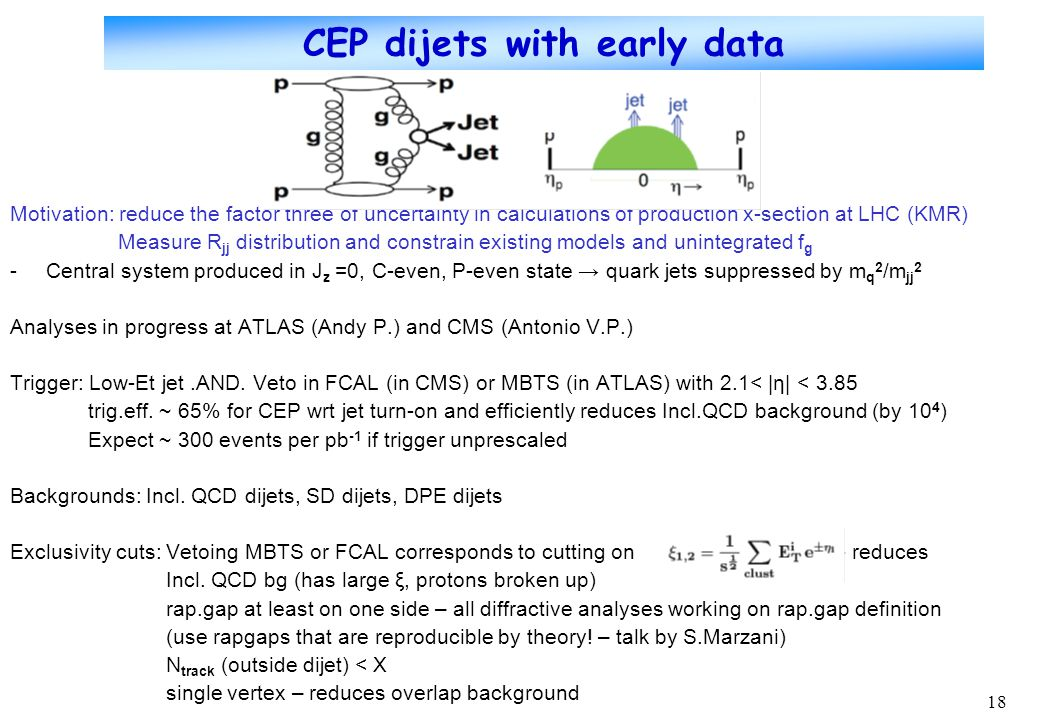 18 CEP dijets with early data Motivation: reduce the factor three of uncertainty in calculations of production x-section at LHC (KMR) Measure R jj distribution and constrain existing models and unintegrated f g -Central system produced in J z =0, C-even, P-even state → quark jets suppressed by m q 2 /m jj 2 Analyses in progress at ATLAS (Andy P.) and CMS (Antonio V.P.) Trigger: Low-Et jet.AND.