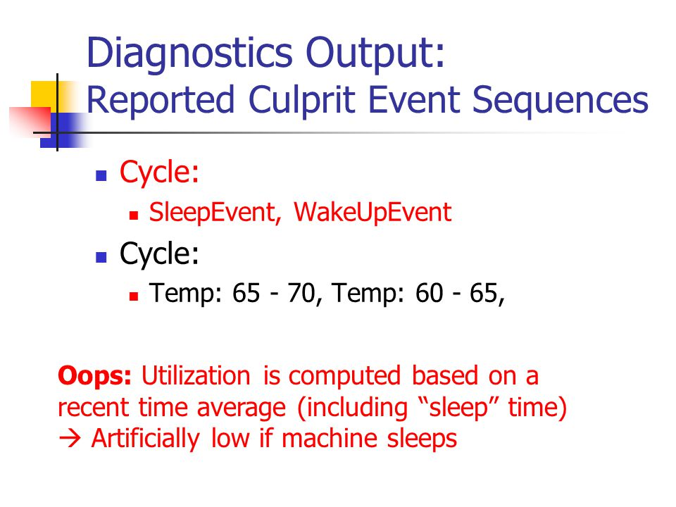 Diagnostics Output: Reported Culprit Event Sequences Cycle: SleepEvent, WakeUpEvent Cycle: Temp: 65 - 70, Temp: 60 - 65, Oops: Utilization is computed
