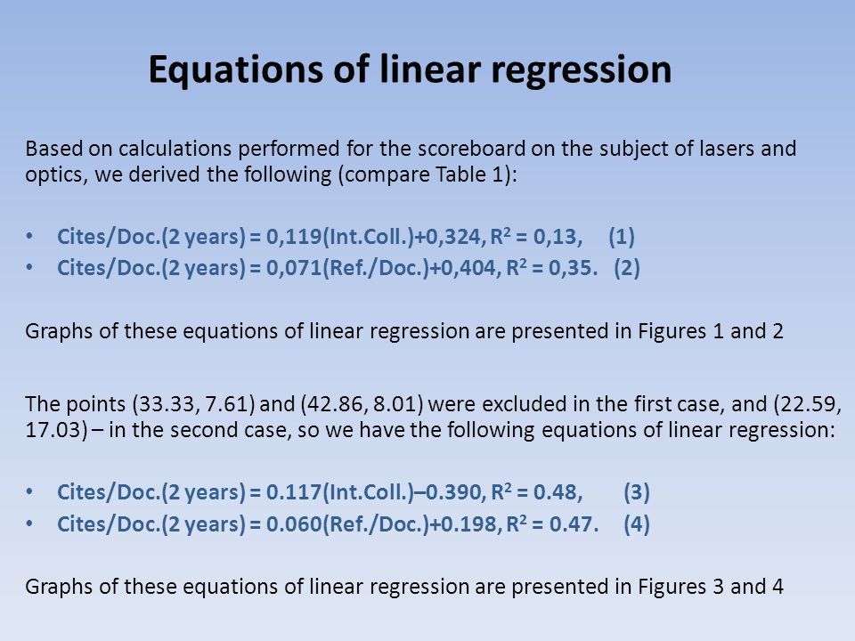 Based on calculations performed for the scoreboard on the subject of lasers and optics, we derived the following (compare Table 1): Сites/Doc.(2 years) = 0,119(Int.Coll.)+0,324, R 2 = 0,13, (1) Сites/Doc.(2 years) = 0,071(Ref./Doc.)+0,404, R 2 = 0,35.
