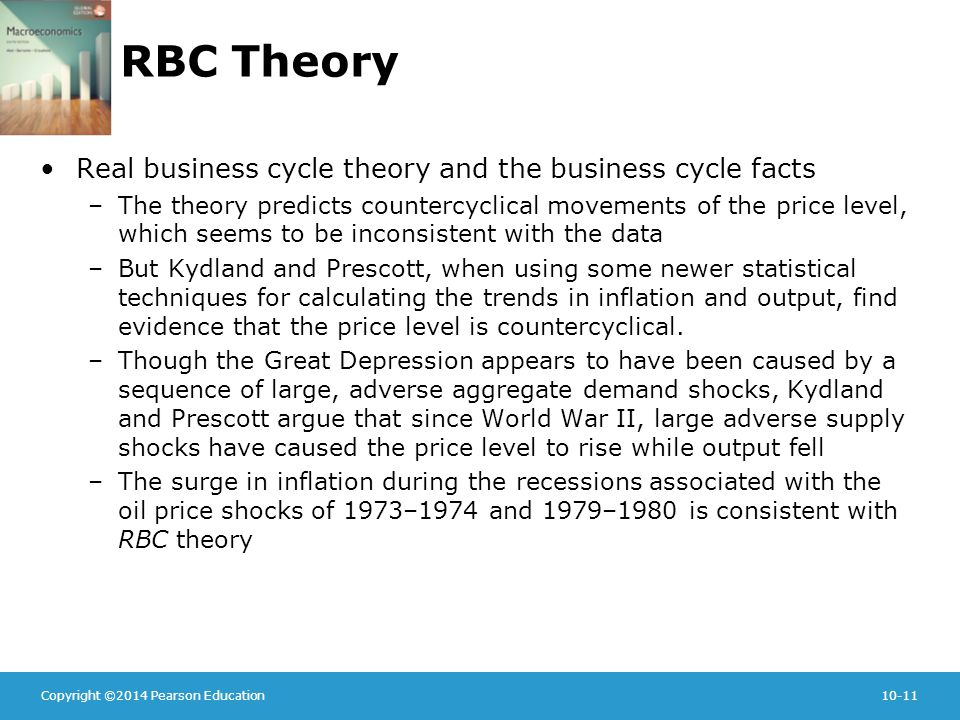 Copyright ©2014 Pearson Education10-11 RBC Theory Real business cycle theory and the business cycle facts –The theory predicts countercyclical movements of the price level, which seems to be inconsistent with the data –But Kydland and Prescott, when using some newer statistical techniques for calculating the trends in inflation and output, find evidence that the price level is countercyclical.