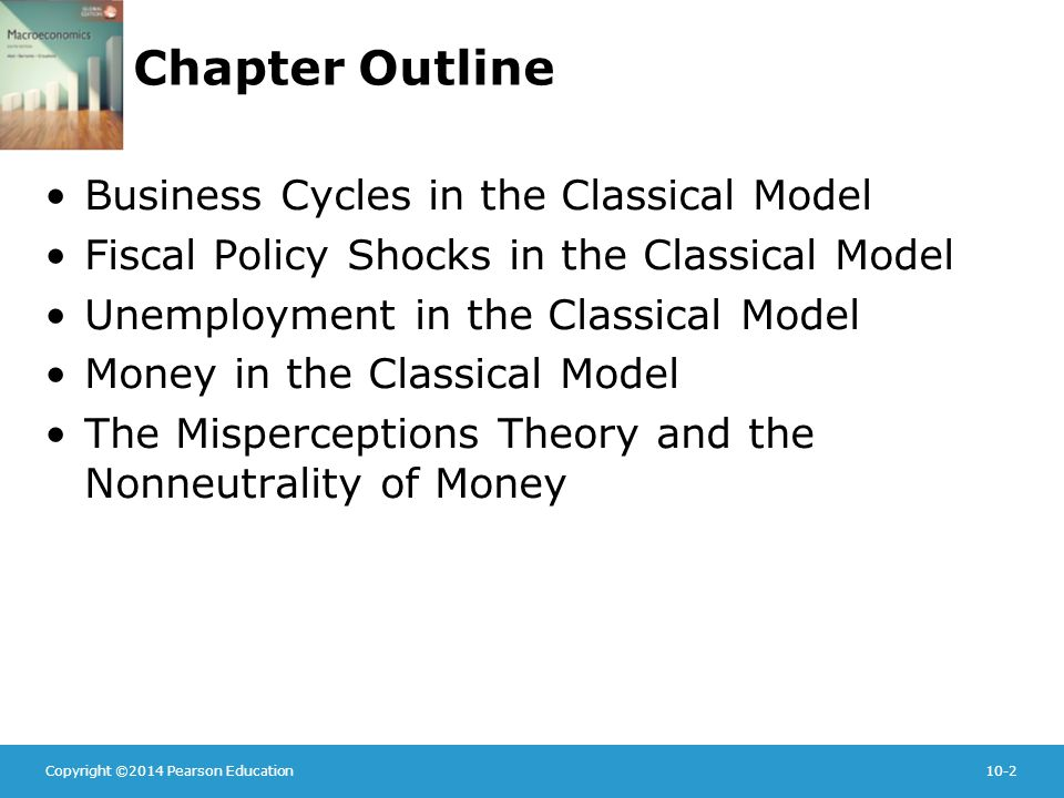 Copyright ©2014 Pearson Education10-2 Chapter Outline Business Cycles in the Classical Model Fiscal Policy Shocks in the Classical Model Unemployment in the Classical Model Money in the Classical Model The Misperceptions Theory and the Nonneutrality of Money