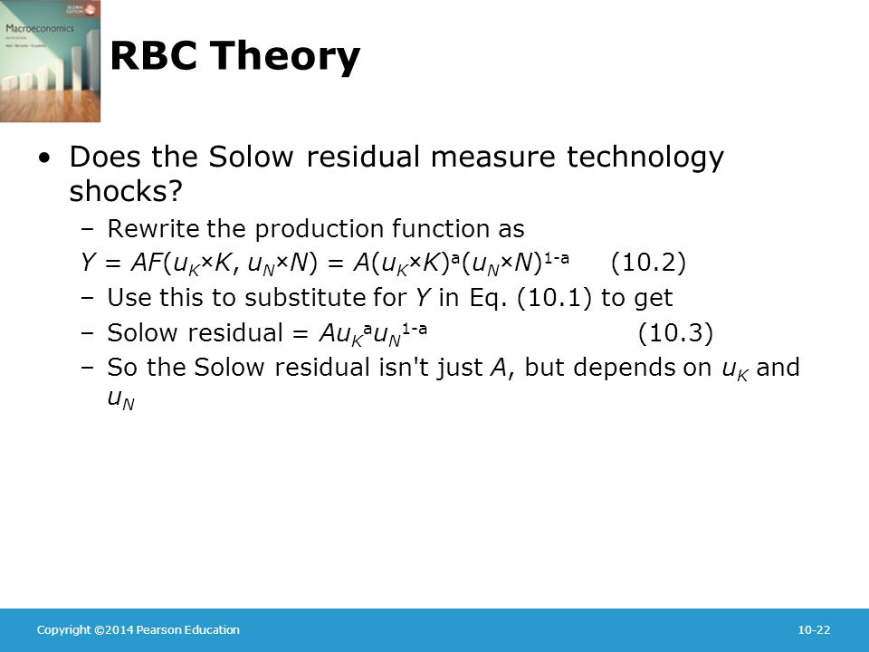Copyright ©2014 Pearson Education10-22 RBC Theory Does the Solow residual measure technology shocks.