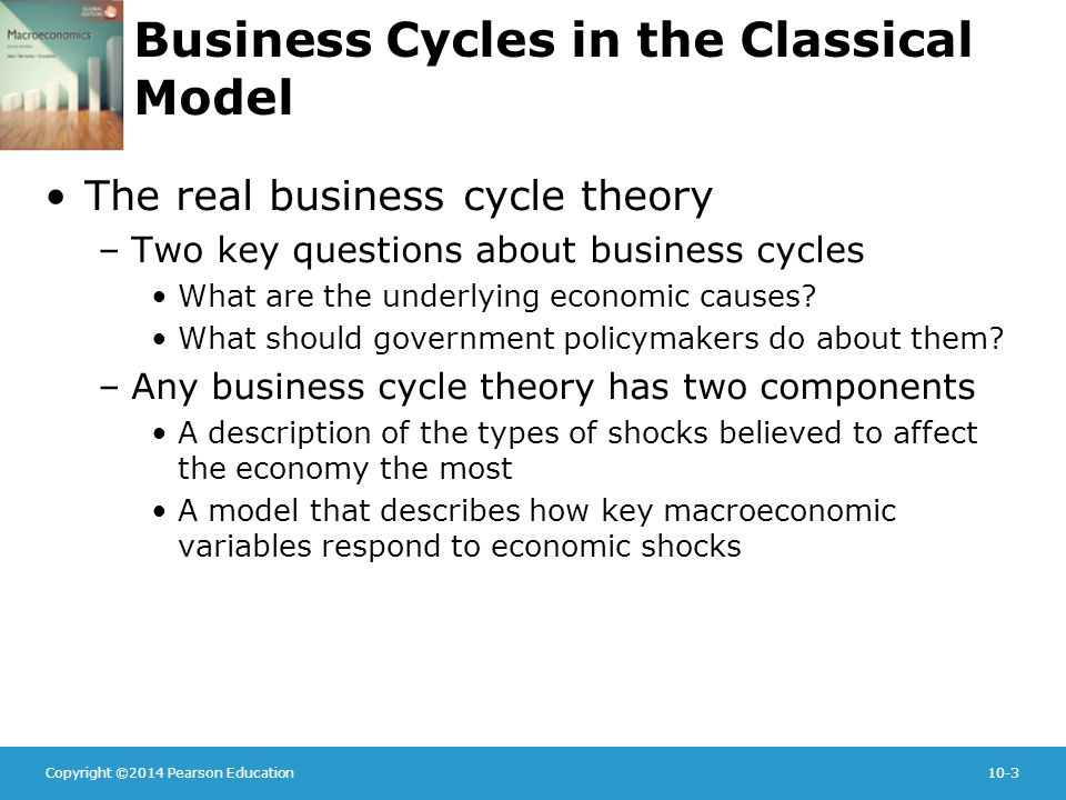 Copyright ©2014 Pearson Education10-3 Business Cycles in the Classical Model The real business cycle theory –Two key questions about business cycles What are the underlying economic causes.