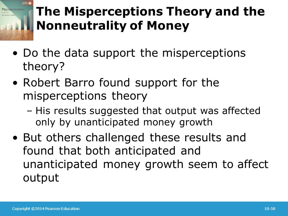 Copyright ©2014 Pearson Education10-58 The Misperceptions Theory and the Nonneutrality of Money Do the data support the misperceptions theory.