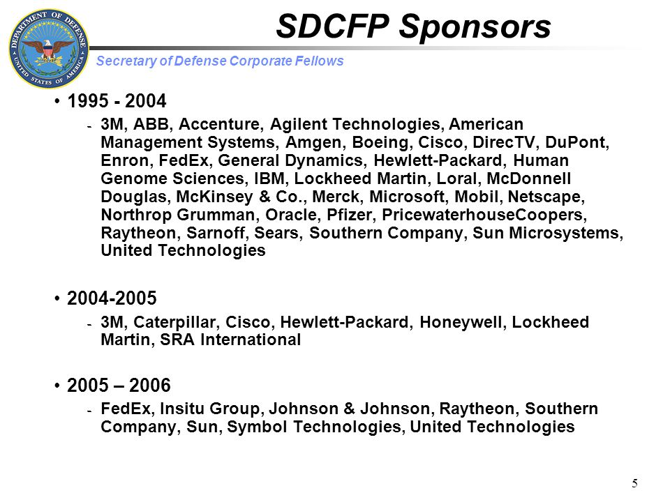Secretary of Defense Corporate Fellows 6 SDCFP Results Program objectives fulfilled -Education -DoD, Individual officers, Sponsors -More Sponsors than Fellows available -Intra-group experience sharing Unique corporate experience -Strong corporate support -Executive/operational level mix -Mergers/restructuring