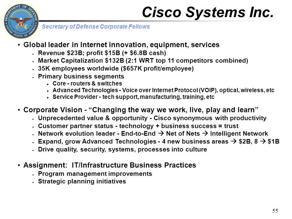 Secretary of Defense Corporate Fellows 55 Cisco Systems Inc.