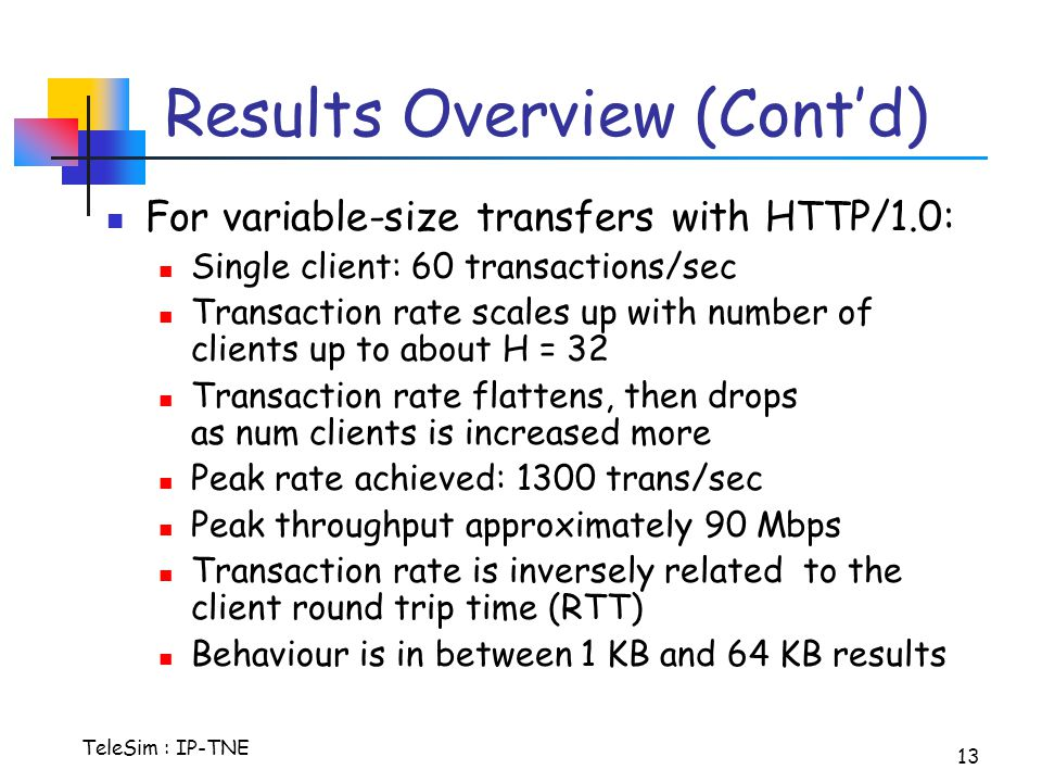 TeleSim : IP-TNE 13 Results Overview (Cont'd) For variable-size transfers with HTTP/1.0: Single client: 60 transactions/sec Transaction rate scales up with number of clients up to about H = 32 Transaction rate flattens, then drops as num clients is increased more Peak rate achieved: 1300 trans/sec Peak throughput approximately 90 Mbps Transaction rate is inversely related to the client round trip time (RTT) Behaviour is in between 1 KB and 64 KB results