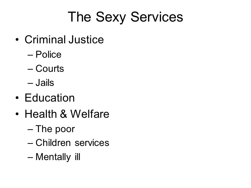 The Sexy Services Criminal Justice –Police –Courts –Jails Education Health & Welfare –The poor –Children services –Mentally ill