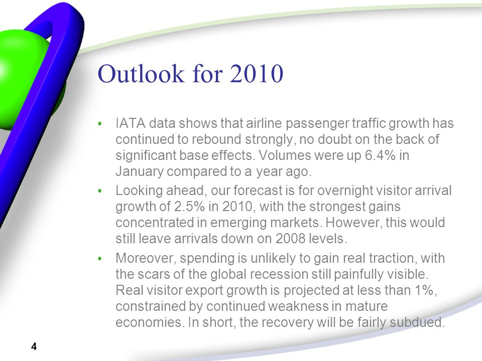 4 Outlook for 2010 IATA data shows that airline passenger traffic growth has continued to rebound strongly, no doubt on the back of significant base effects.