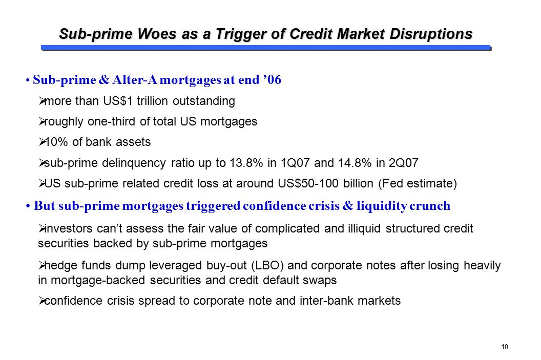 10 Sub-prime Woes as a Trigger of Credit Market Disruptions Sub-prime & Alter-A mortgages at end '06  more than US$1 trillion outstanding  roughly o