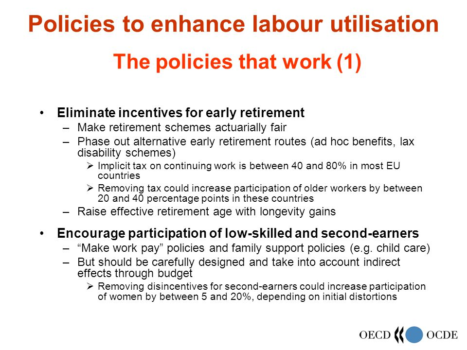 Policies to enhance labour utilisation Eliminate incentives for early retirement –Make retirement schemes actuarially fair –Phase out alternative early retirement routes (ad hoc benefits, lax disability schemes)  Implicit tax on continuing work is between 40 and 80% in most EU countries  Removing tax could increase participation of older workers by between 20 and 40 percentage points in these countries –Raise effective retirement age with longevity gains Encourage participation of low-skilled and second-earners – Make work pay policies and family support policies (e.g.