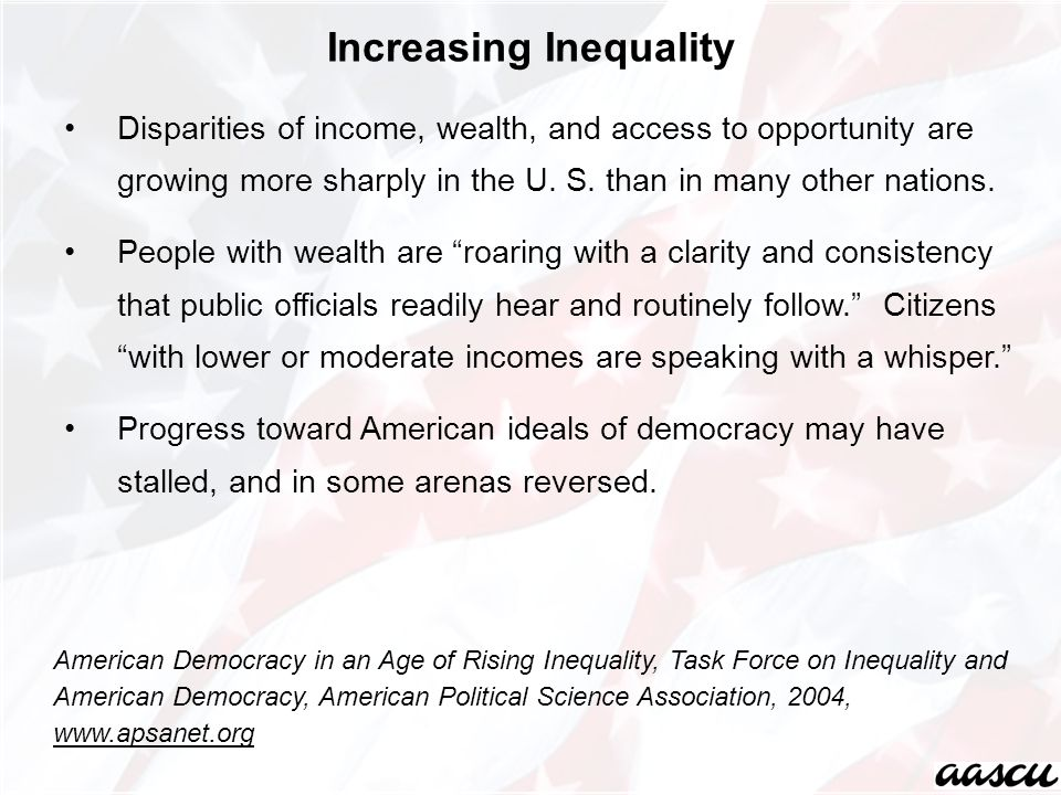 Disparities of income, wealth, and access to opportunity are growing more sharply in the U.