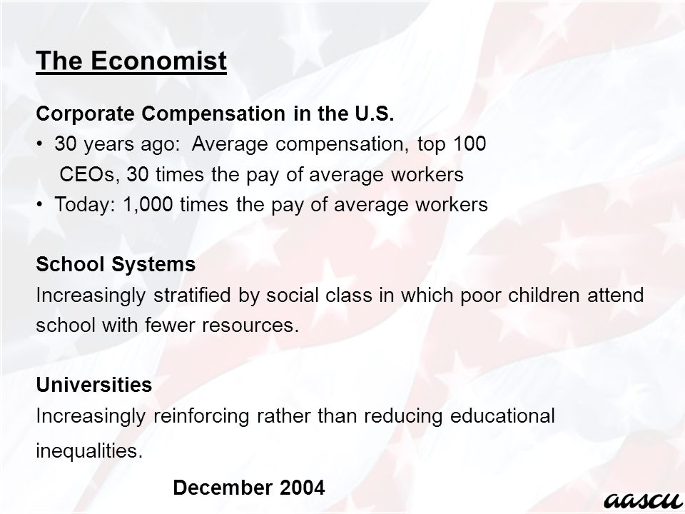 The Economist Corporate Compensation in the U.S. 30 years ago: Average compensation, top 100 CEOs, 30 times the pay of average workers Today: 1,000 ti