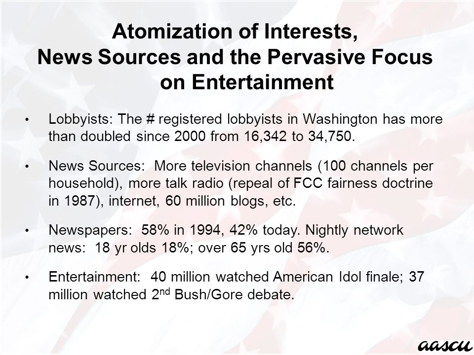 Atomization of Interests, News Sources and the Pervasive Focus on Entertainment Lobbyists: The # registered lobbyists in Washington has more than doubled since 2000 from 16,342 to 34,750.