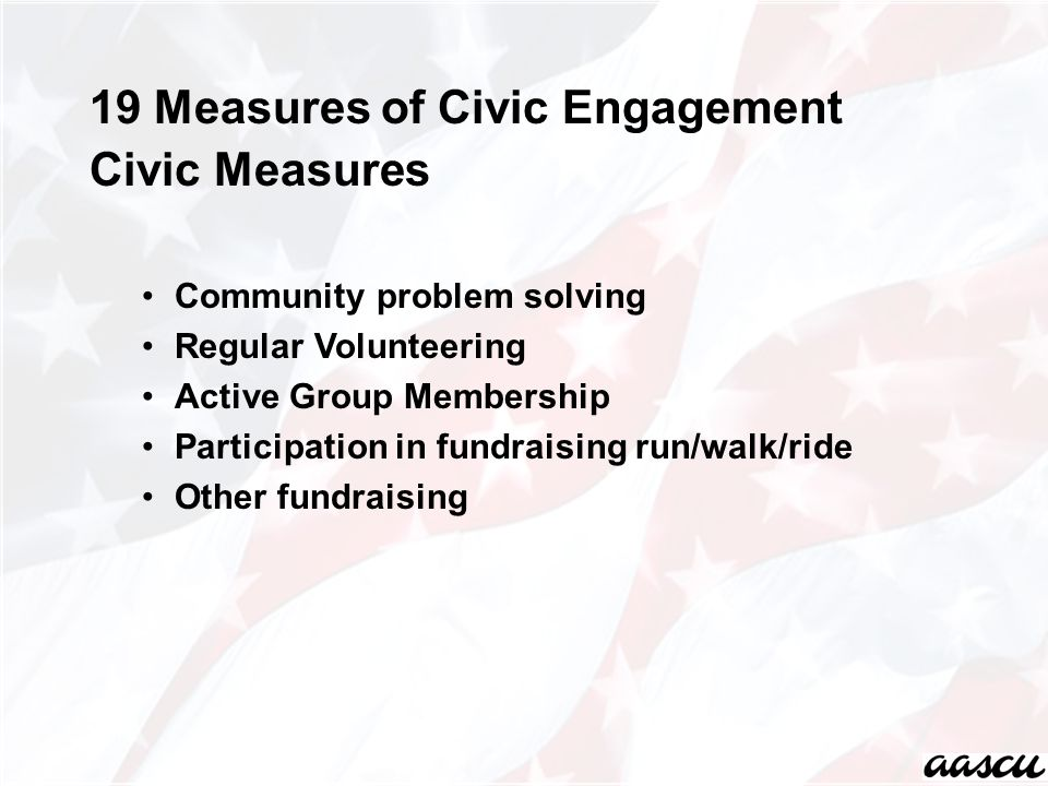 19 Measures of Civic Engagement Civic Measures Community problem solving Regular Volunteering Active Group Membership Participation in fundraising run/walk/ride Other fundraising