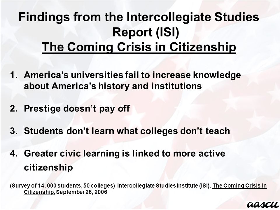 Findings from the Intercollegiate Studies Report (ISI) The Coming Crisis in Citizenship 1.America's universities fail to increase knowledge about America's history and institutions 2.Prestige doesn't pay off 3.Students don't learn what colleges don't teach 4.Greater civic learning is linked to more active citizenship (Survey of 14, 000 students, 50 colleges) Intercollegiate Studies Institute (ISI), The Coming Crisis in Citizenship, September 26, 2006