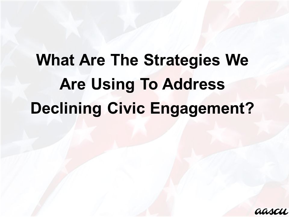 What Are The Strategies We Are Using To Address Declining Civic Engagement