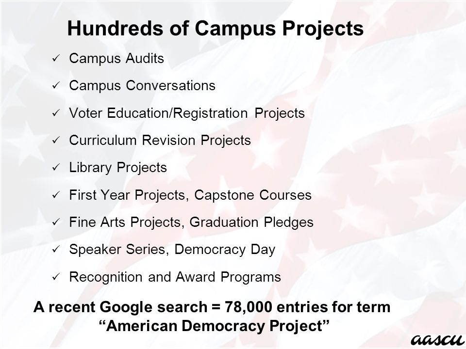 Campus Audits Campus Conversations Voter Education/Registration Projects Curriculum Revision Projects Library Projects First Year Projects, Capstone Courses Fine Arts Projects, Graduation Pledges Speaker Series, Democracy Day Recognition and Award Programs Hundreds of Campus Projects A recent Google search = 78,000 entries for term American Democracy Project